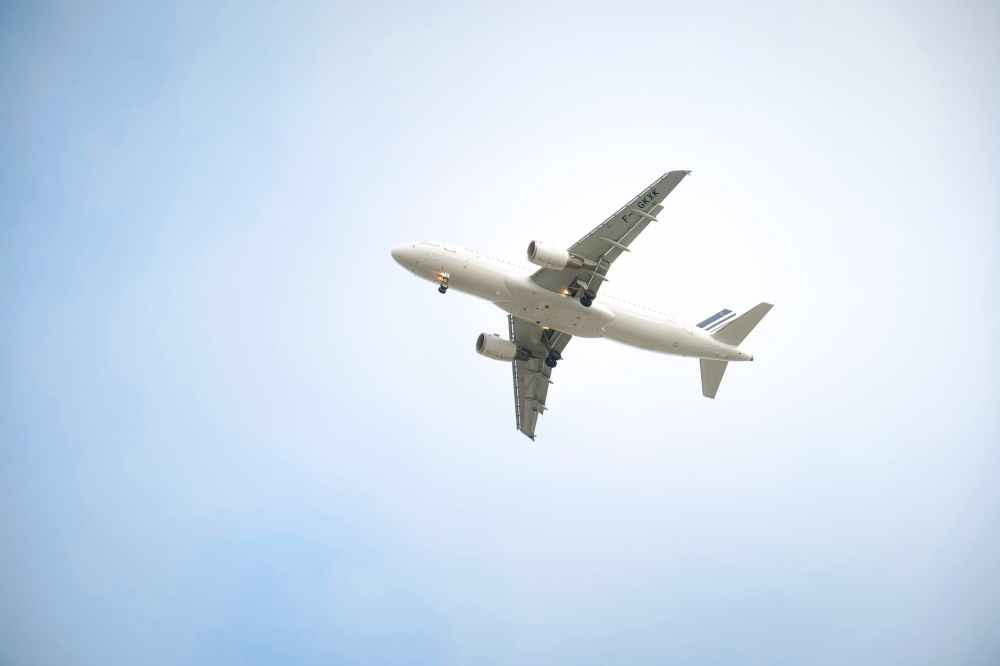 white airplane in mid air